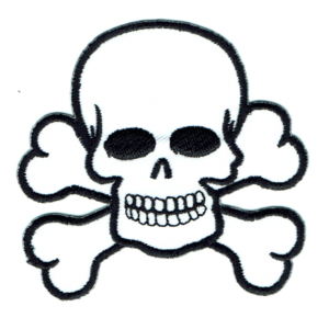 Skull and cross bones iron on patches made from white twill and black stitching