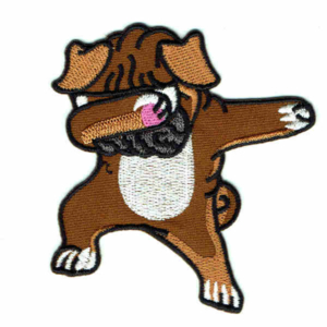Embroidered brown pug patch in a dabbing pose