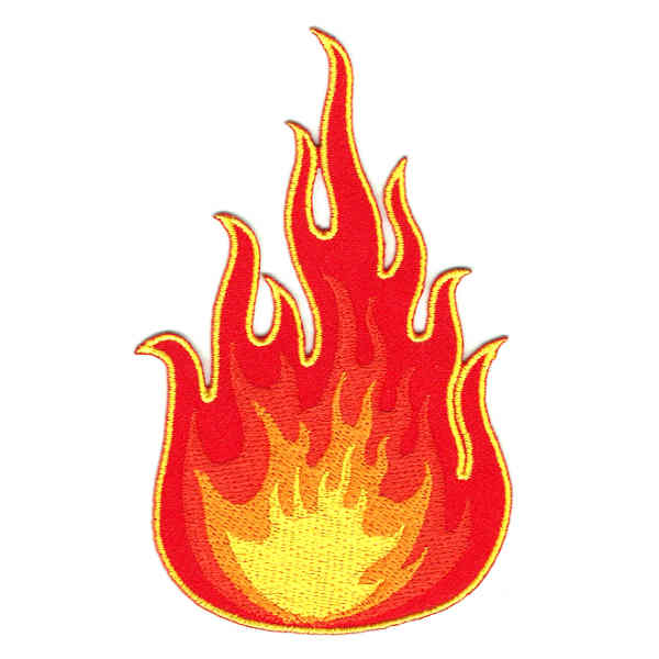 Red Yellow and Orange flame iron on embroidered patch