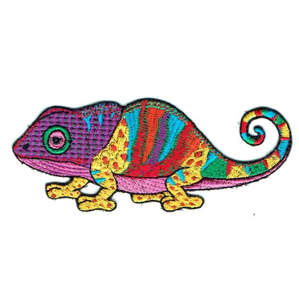 Purple Chameleon Iron On Patch embroidered in vibrant colourful stitching