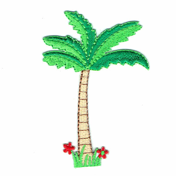 Embroidered palm tree iron on patch with vibrant green leaves and small red flowers at the base.