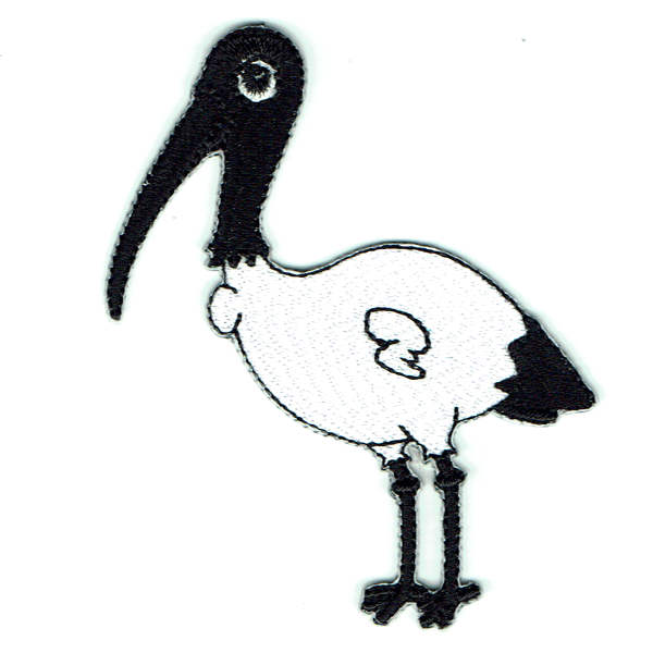 Embroidered Iron On Patch of a black and white Ibis bird