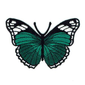 Embroidered Iron On emerald green monarch butterfly patch