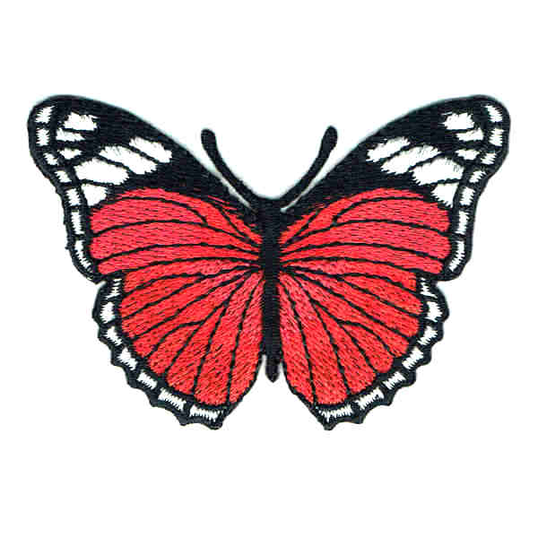 Iron on embroidered red monarch butterfly patch