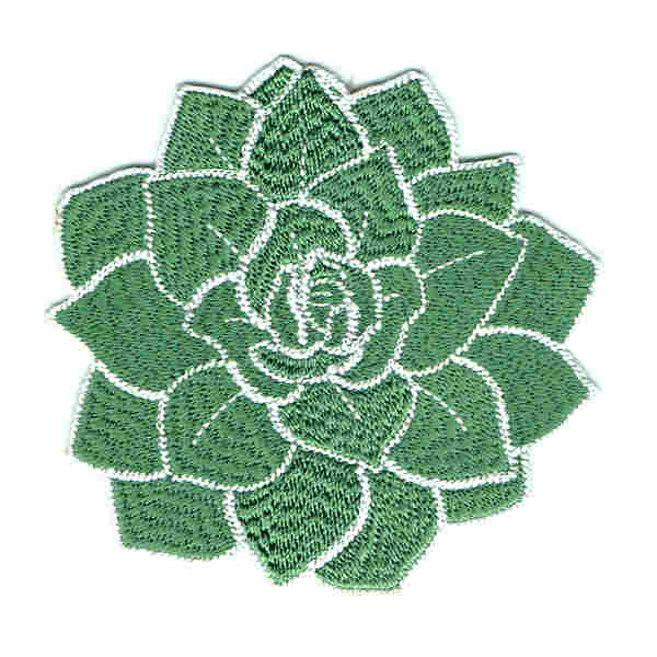 Iron on embroidered patch of a green succulent plant.