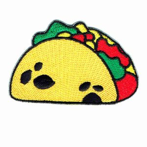 Iron On Embroidered Patch of a golden yellow taco shell filled with lettuce tomato and cheese.