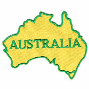 Embroidered Yellow Iron On Patch of an Australian Map with a green border and green writing with the word Australia