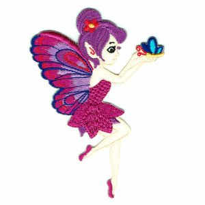 Iron on Patch of a fairy in a purple dress with purple wings holding a small blue butterfly