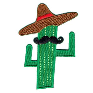 Green cactus iron on patch wearing a sombrero and detailed with a black moustache