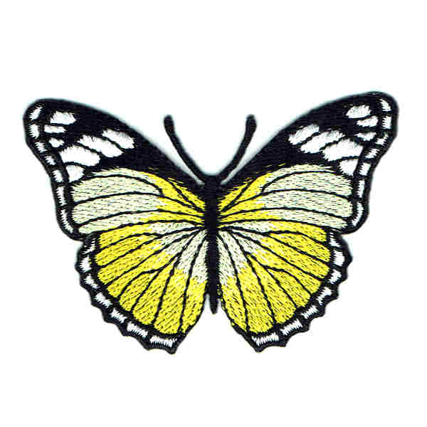 Bright Yellow Monarch Butterfly Iron On Embroidered Patch