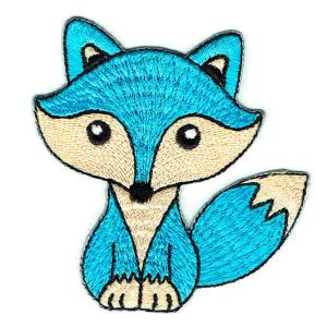 Iron on embroidered cute blue fox patch
