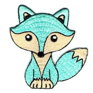 Iron on embroidered cute mint green fox patch