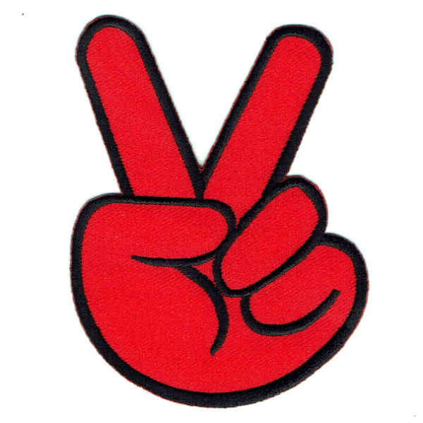 An iron on embroidered red hand making the peace symbol with two fingers