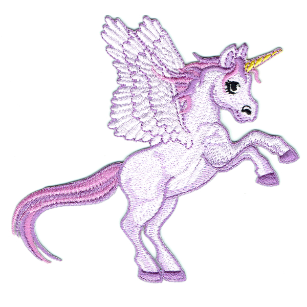 Purple embroidered unicorn iron on patch with wings