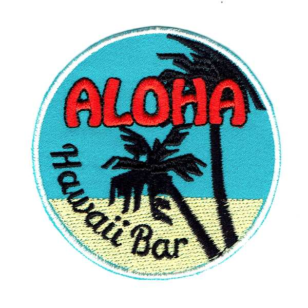 Round Iron On Patch with a Blue background and yellow beach with the words Aloha Hawaii Bar embroidered
