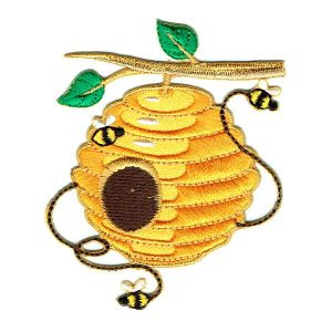 Yellow iron on bee hive patch hanging from a small branch featuring 3 small bees