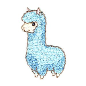 Embroidered Cute Llama Iron On Patch detailed in blue stitching