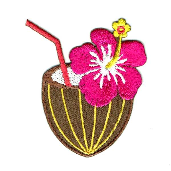 Coconut Cocktail Drink Iron On Patch with an orange straw and pink hibiscus flower