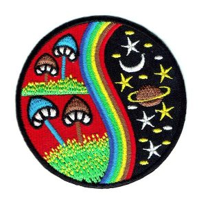 Round embroidered patch featuring mushrooms stars and planets cosmic hippie style patch