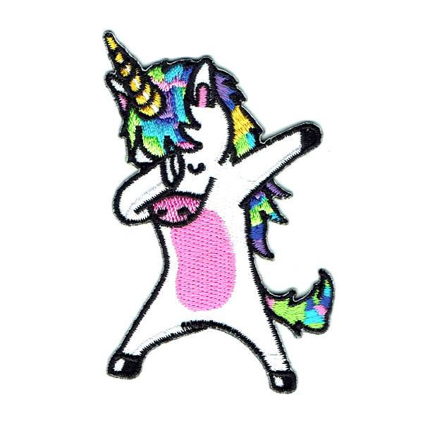 White iron on unicorn with colourful hair in the dabbing pose.