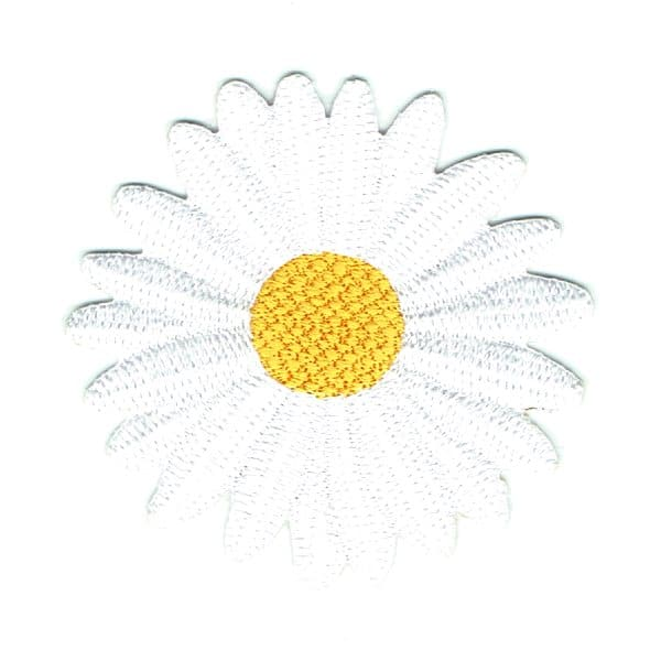 Beautiful white and yellow daisy iron on embroidered patch