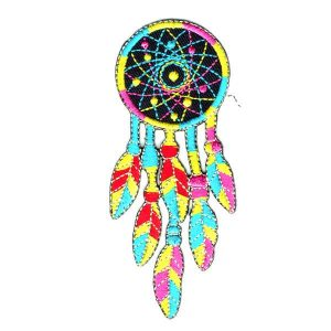 Iron On Embroidered Dream Catcher patch detailed in pink, aqua yellow and red.