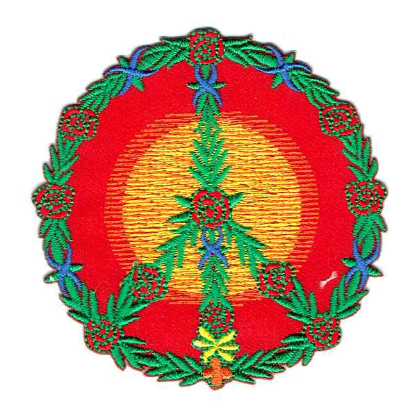 Flower Power Peace Symbol detailed with green and red embroidery
