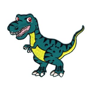 Iron on embroidered green t-rex patch with yellow tummy and a happy face