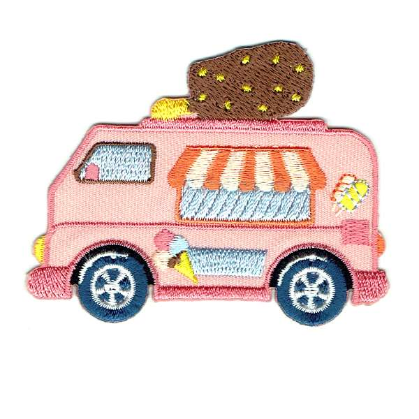 Pink Ice Cream Van Iron on Patch with a chocolate ice cream decoration on the top of the van