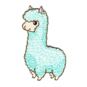 Embroidered Cute Llama Iron On Patch detailed in mint green stitching
