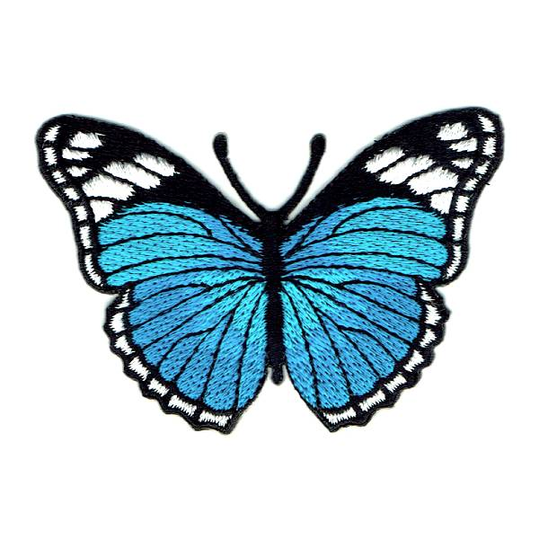 Bright Blue Monarch Butterfly Iron On Embroidered Patch