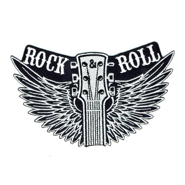 Black and white guitar head with wings patch with the words Rock and Roll embroidered at the top