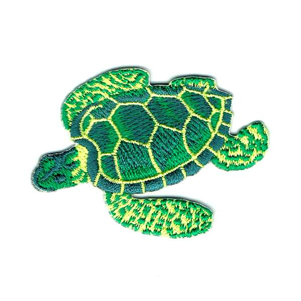 Green sea turtle iron on embroidered patch