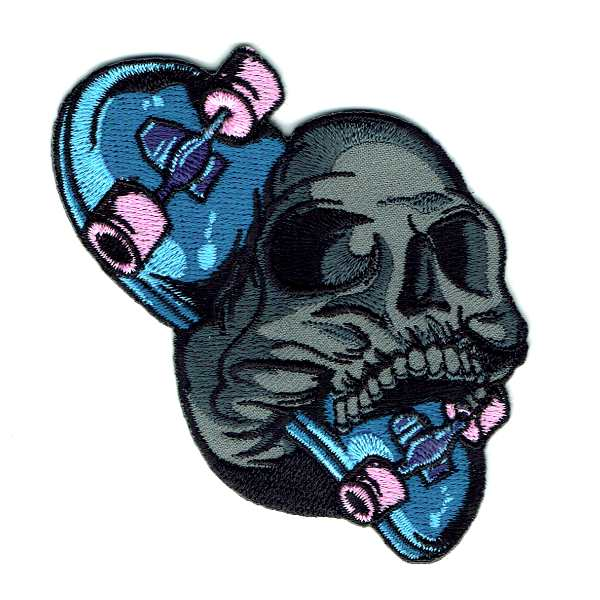 Skateboard Skull Iron On Embroidered Patch Blue skateboard with pink wheels and a grey skull