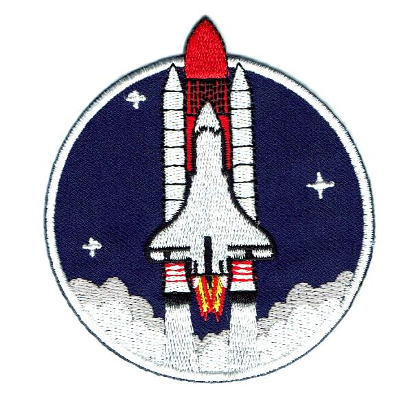 Space Shuttle Iron On Patch pictured blasting off into a dark blue sky.