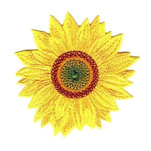 Bright yellow sunflower embroidered iron on patch