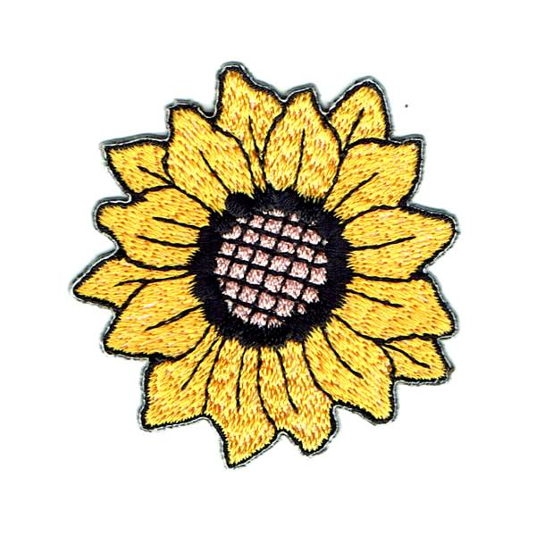 Embroidered iron on yellow sunflower patch