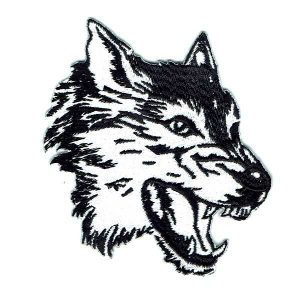 Black and White iron on wolf head patch showing his teeth
