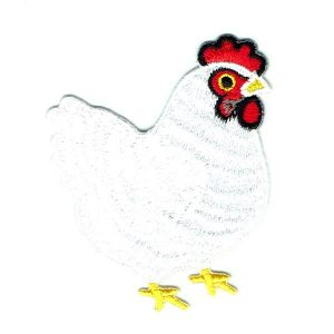 White Chicken Iron On Patch with a red crest