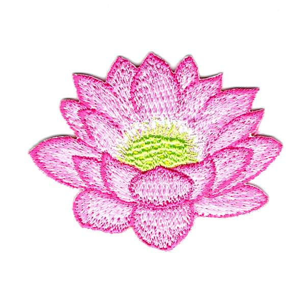 Lotus flower iron on patch with pink petals and a lime green centre