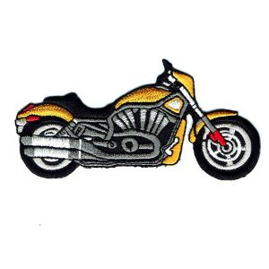 Yellow motorbike iron on embroidered patch
