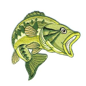 Green embroidered bass fish iron on patch