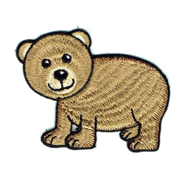 Cute Brown Bear Cub Iron On Embroidered Patch