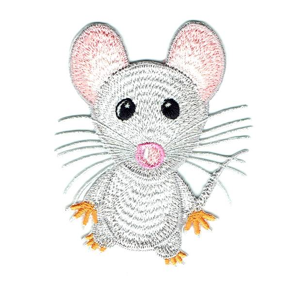 Cute grey mouse iron on embroidered patch with pick ears and long wiskers
